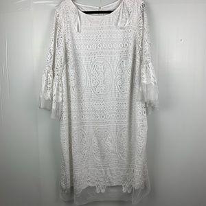 Sandra Darren White lace Dress with slip
